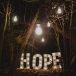Hope in Lights in a forest with dangling light bulbs