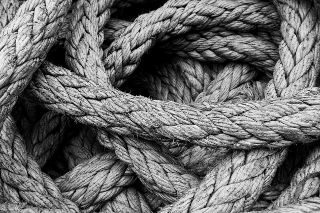 Coil of sturdy rope made of Hemp