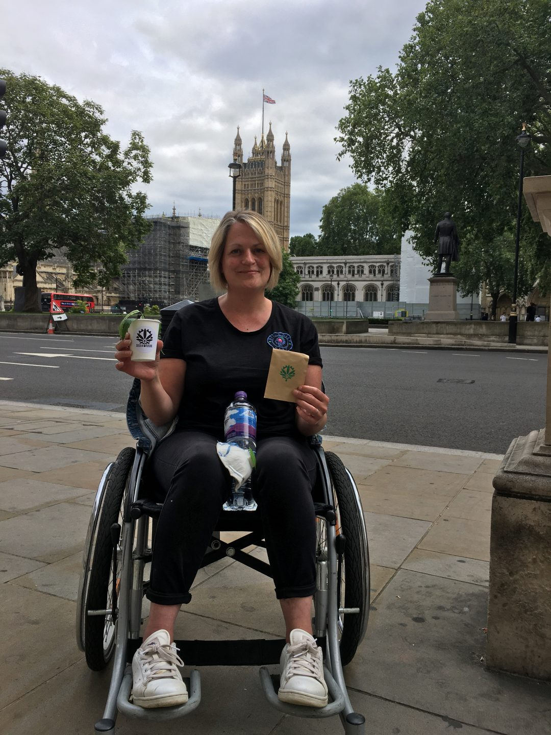 Founder Mandy Tusz on Hemp Campaign London in her wheelchair